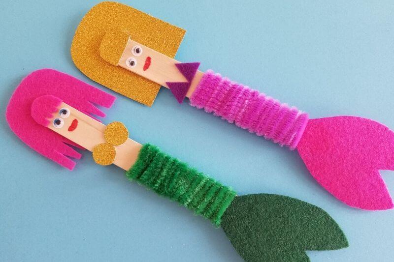 mermaid popsicle craft for kids