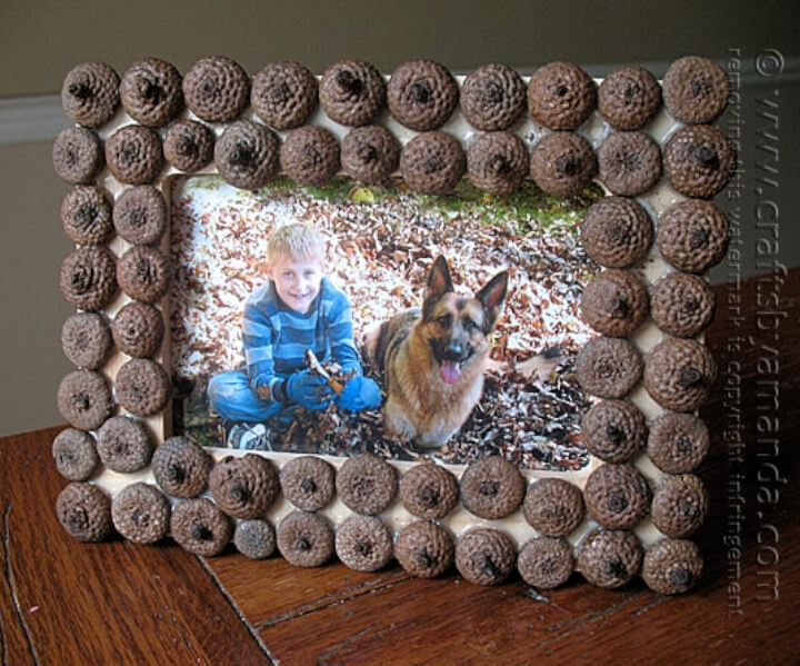 DIY frame made with acorn, framing picture of child and dog.