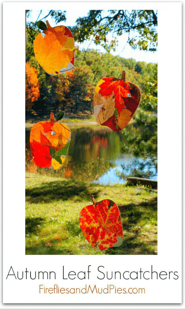 apple suncatcher fall craft made with real leaves