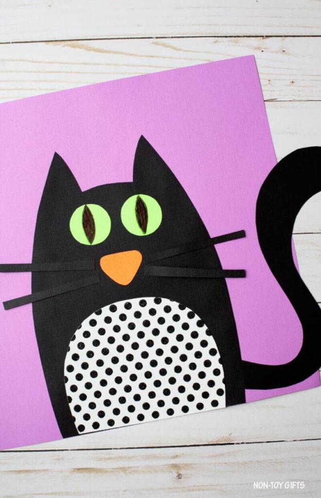 black cat papercraft for Halloween