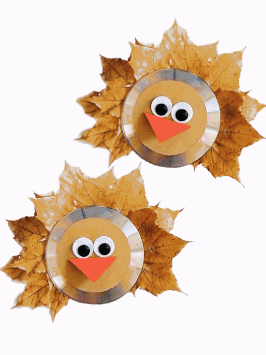 turkey fall craft using real autumn leaves and cds
