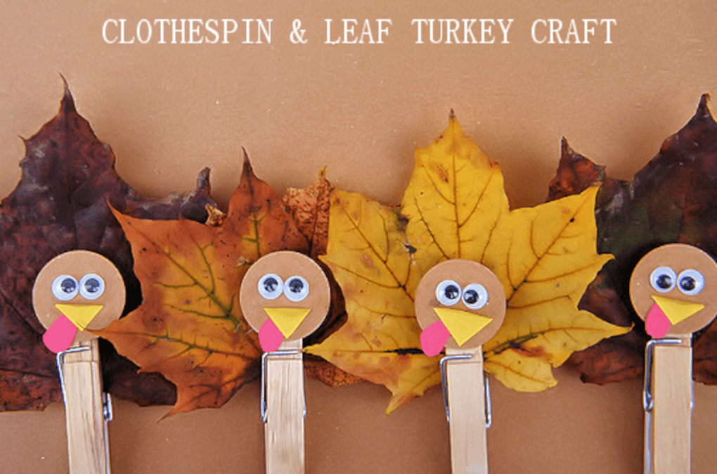 fall themed clothespin crafts made with orange leaf