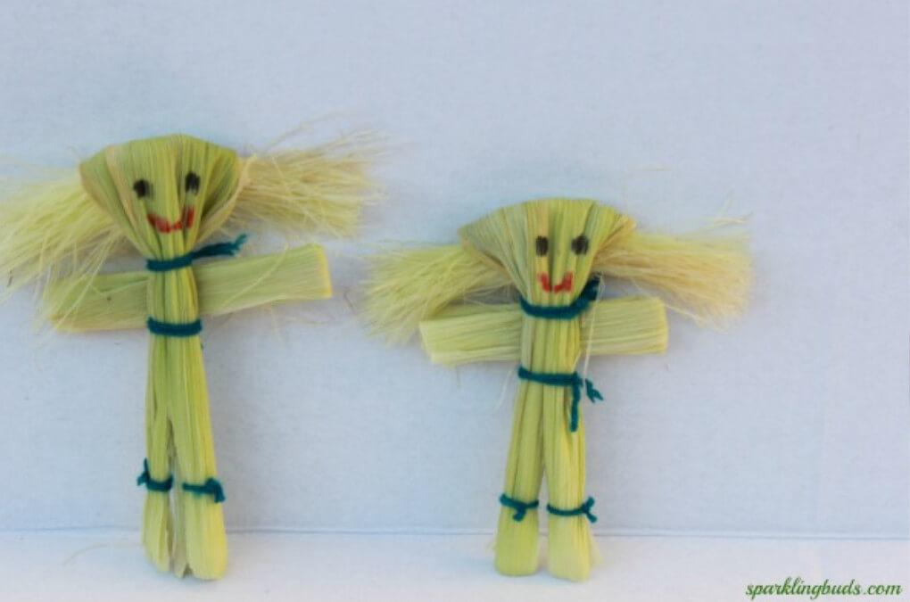 DIY dolls made with corn husks