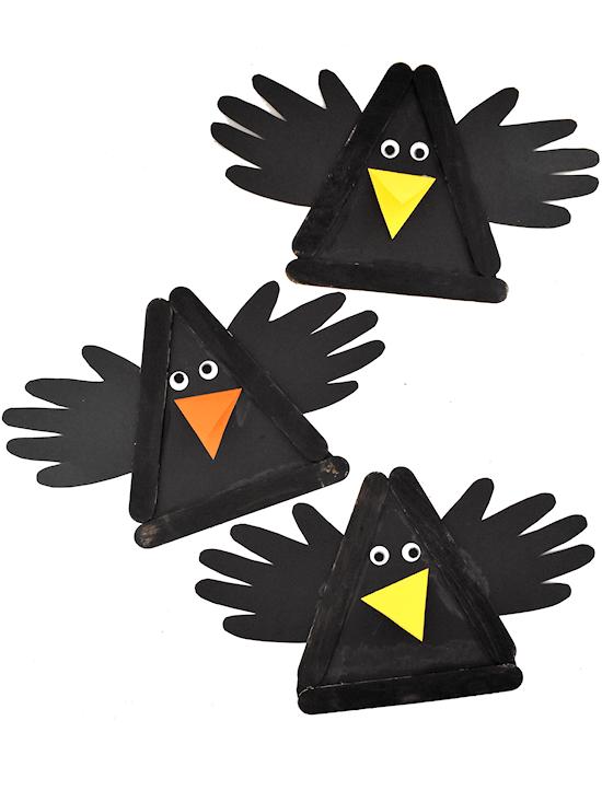 craft for kids of papercraft crow handprint