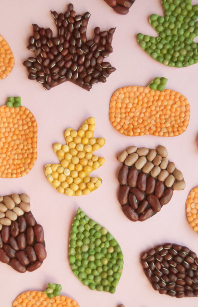 easy and fun mosaic fall-themed craft using beans in orange, brown, yellow and orange