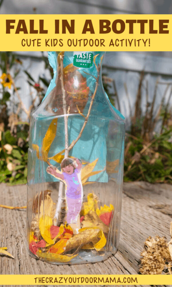 kids craft for autumn made with real leaves and bottle