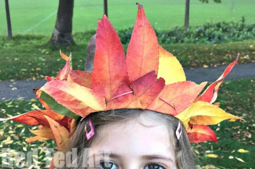 an autumn themed crown made with real fall leaves