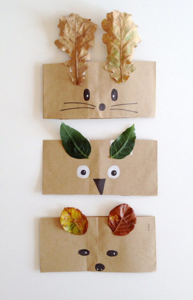 DIY paper crowns for kids made with leaves