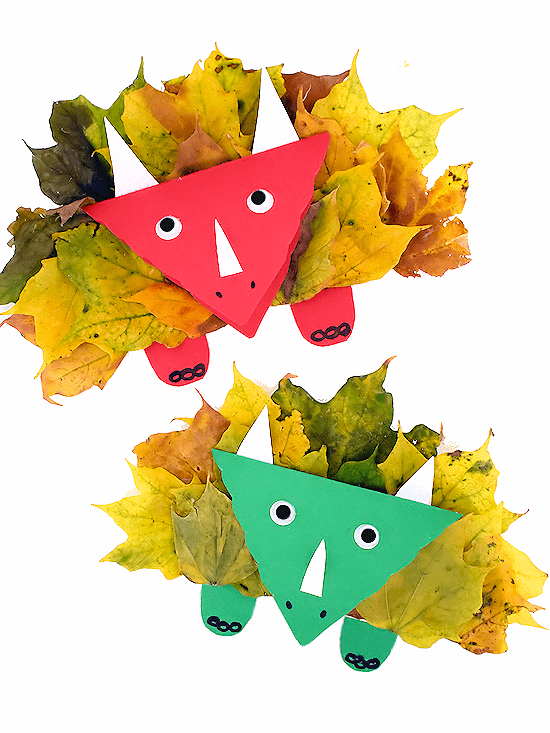 triceratops craft made with real fall leaves
