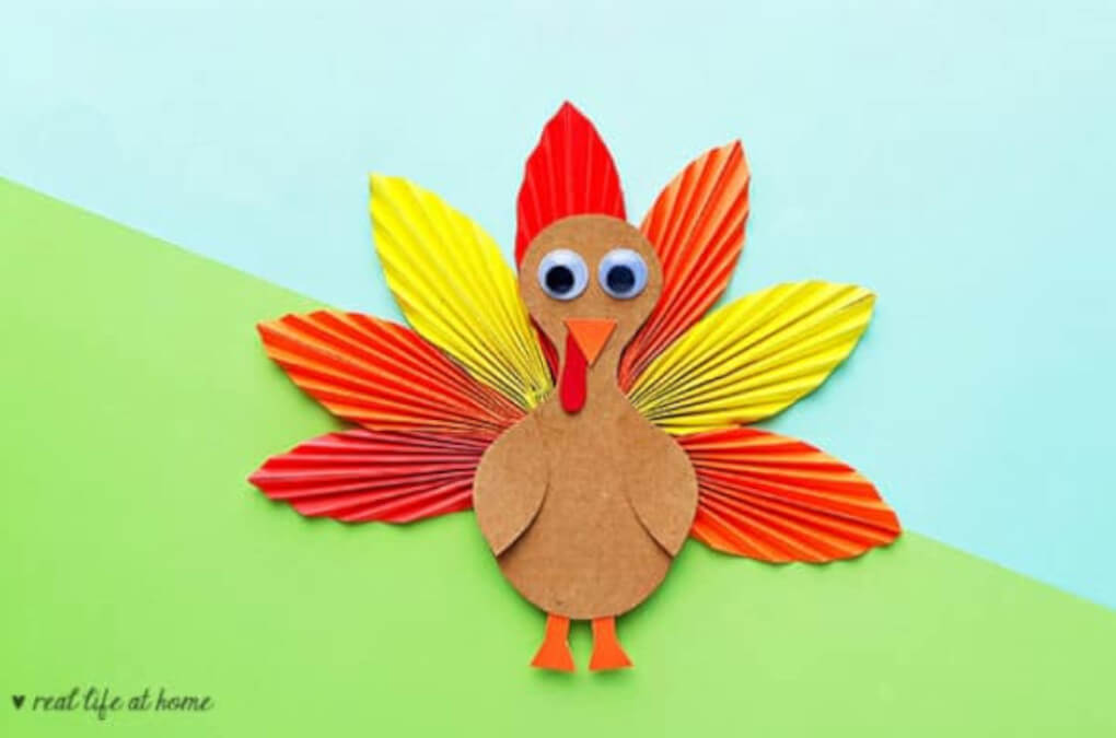 papercraft of turkey with folded feathers