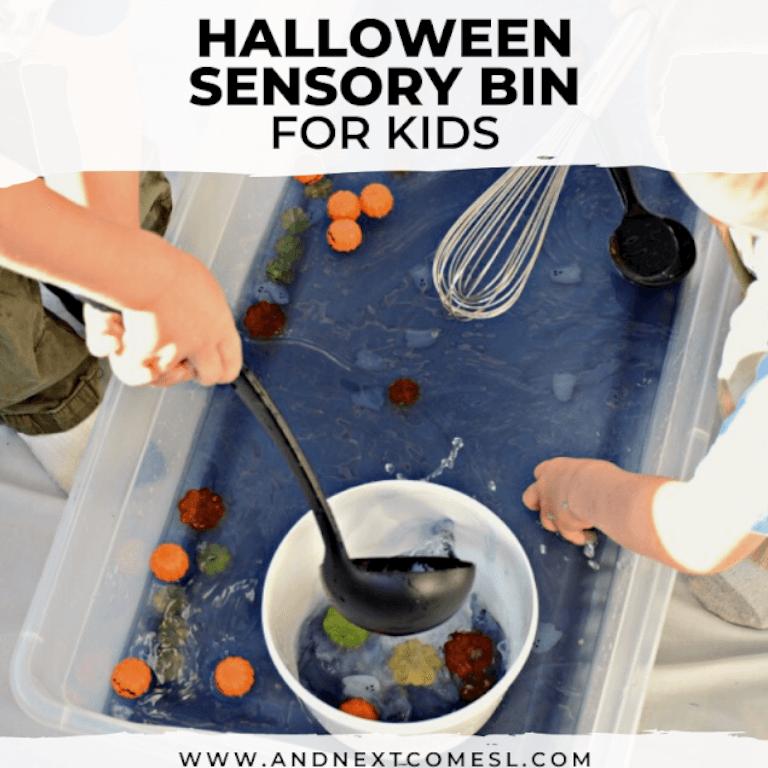 Kids playing with Halloween themed soup sensory bin