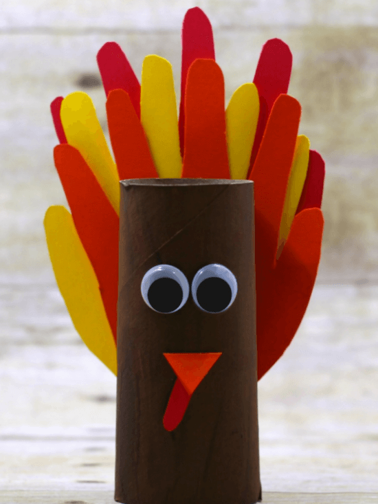 Turkey handprint craft made with cardboard rolls for kids