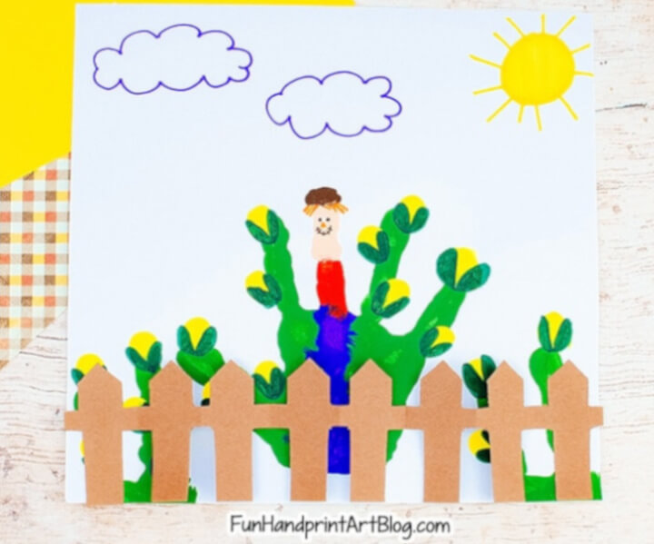 scarecrow corn field craft using kid's handprint
