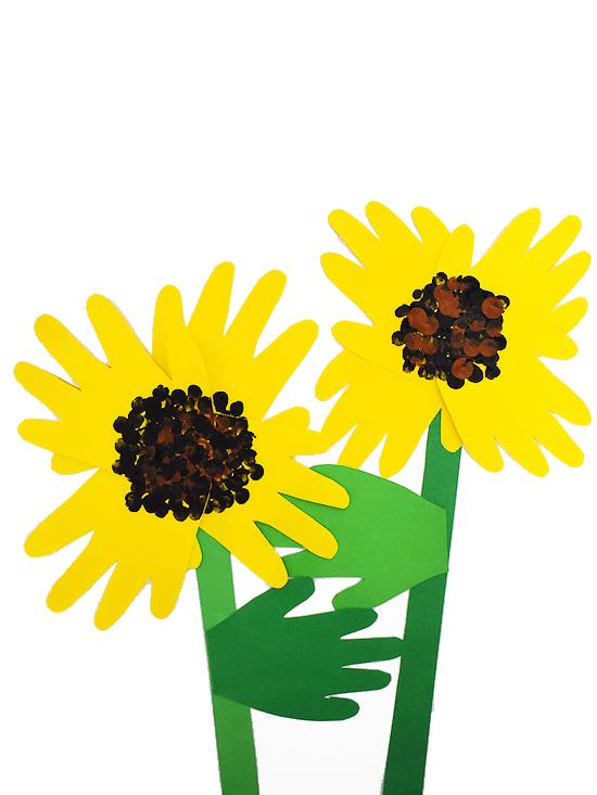 handprint sunflower craft preschoolers and toddlers