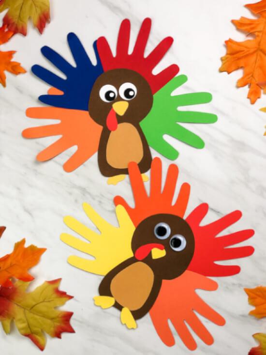 handprint turkey craft made with paper for kids