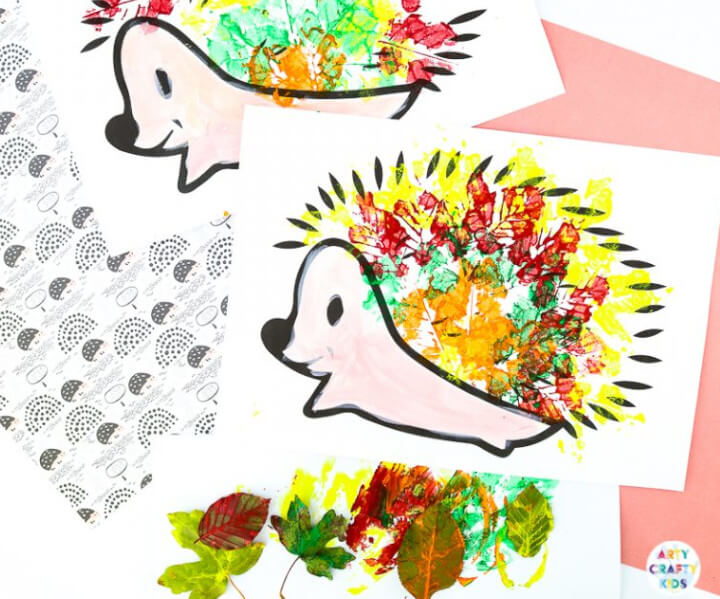 cute hedgehog craft for kids, autumn themed made with real leaves
