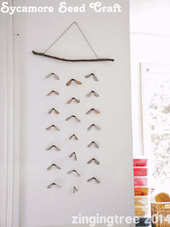 helicopter wall decor for kids made with seeds from nature