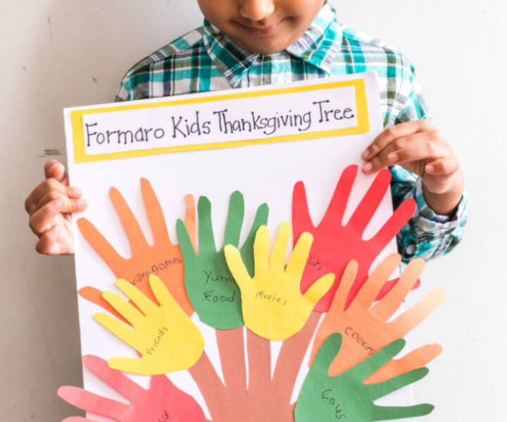 handprint ideas for thanksgiving tree craft for kids using papercraft