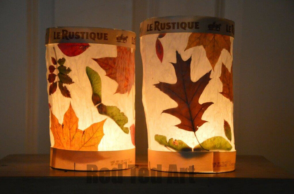 real leaf lanterns for autumn themed crafts for fall