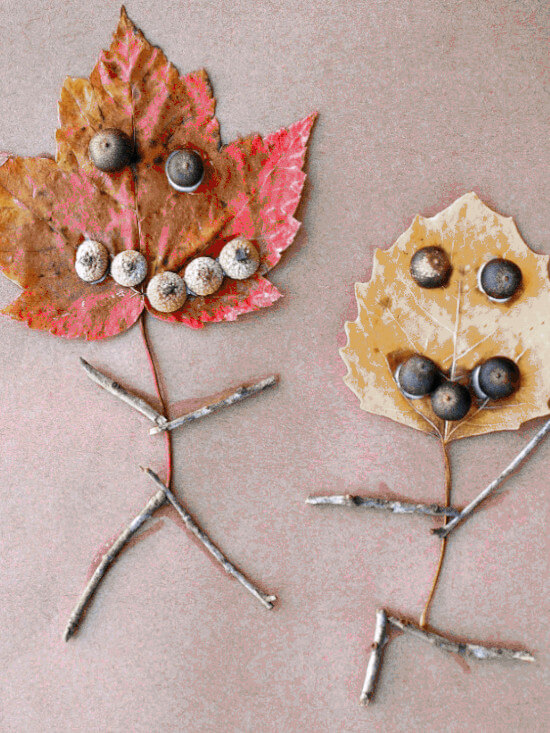autumn-themed leaf people craft
