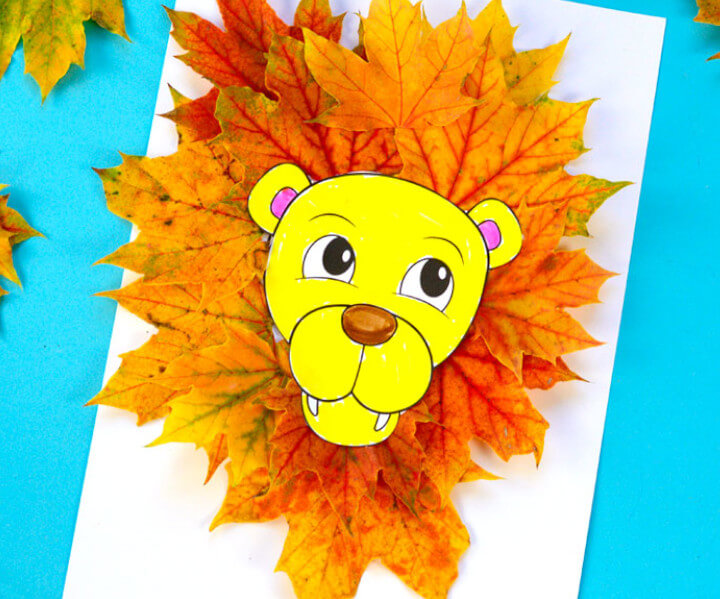 lion craft made with real leaves