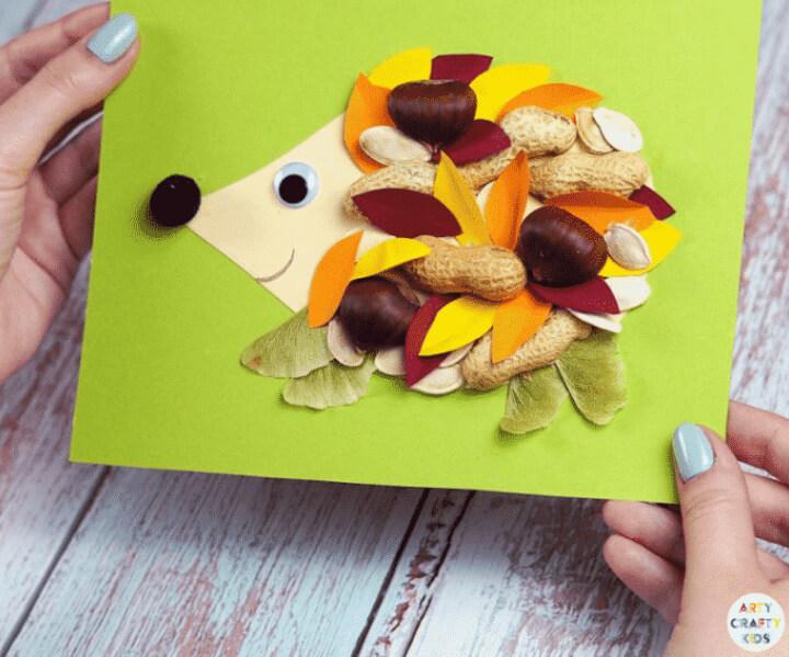 DIY hedgehog craft for kids using outdoor elements