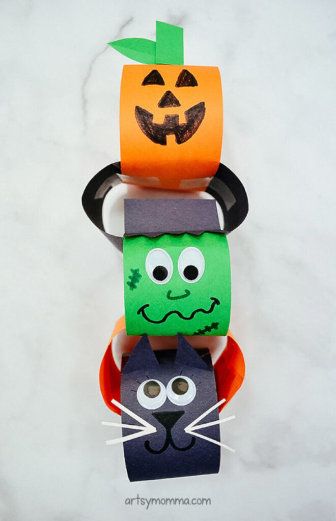 Halloween craft ideas for kids featuring a fun paper chain craft