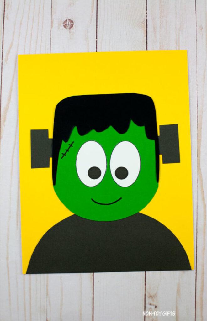 Halloween treat bag featuring Frankenstein paper craft