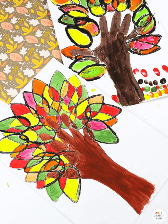 paper roll handprint ideas for kids for fall featuring leaves in red, green and brown