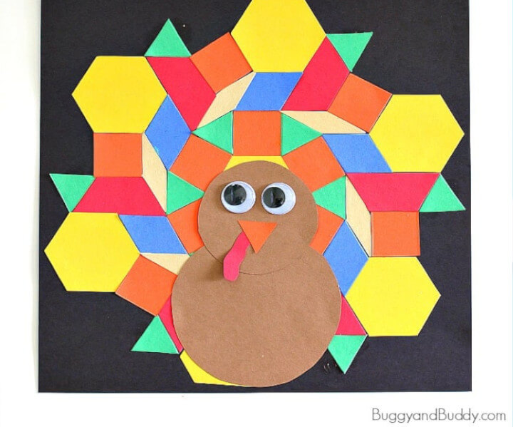 pattern block thanksgiving turkey craft for preschoolers and toddlers