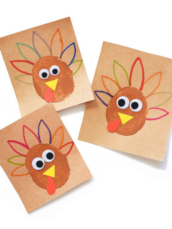stamping turkey craft made with potato and paint