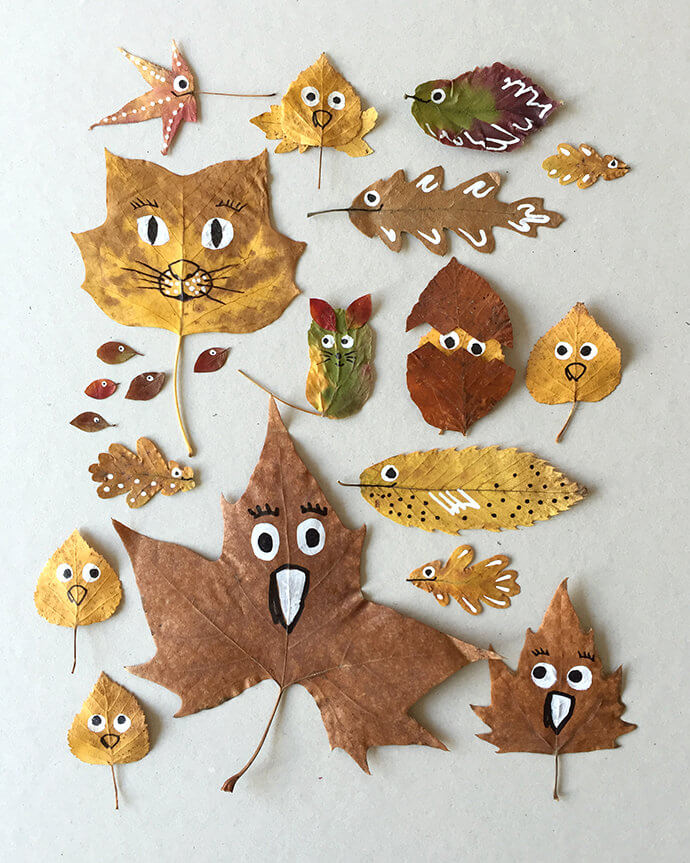 cute and quirky friends made with real leaves kid's craft