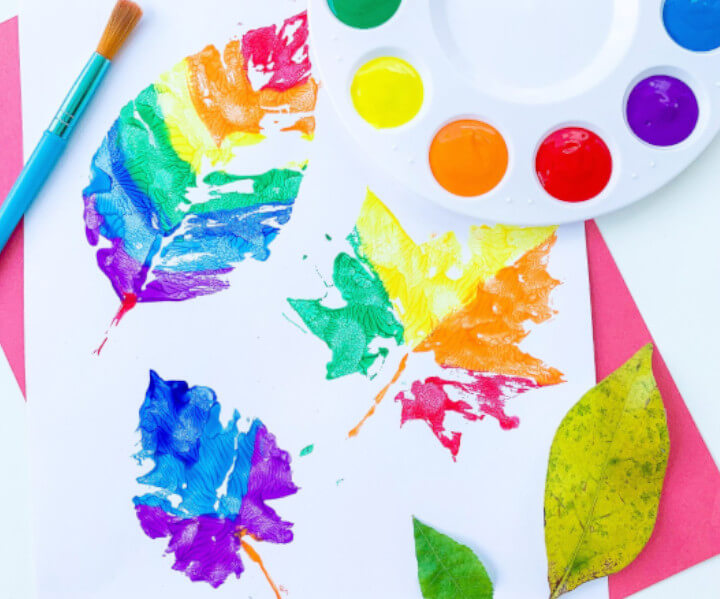 printing craft using real leaves fall themed