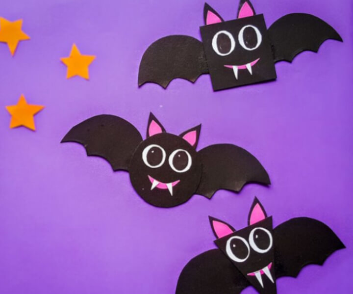 Bat shape craft Halloween inspired made with paper