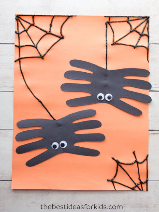 Spider Halloween craft idea made with handprints