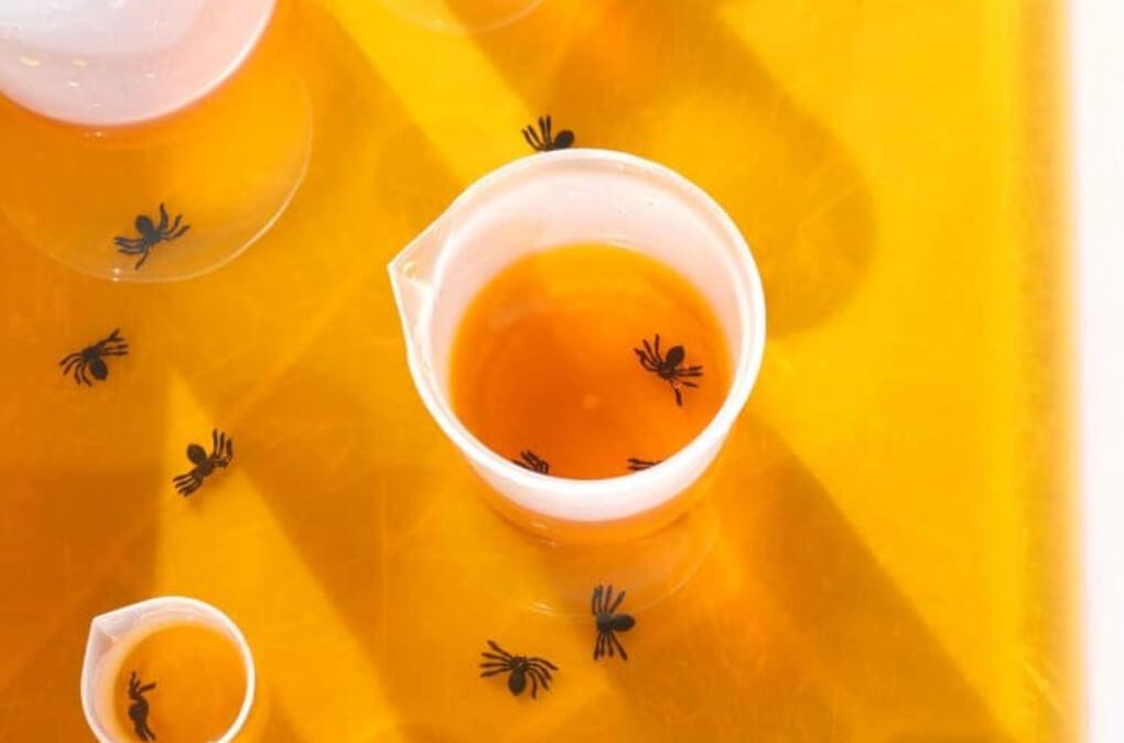 Halloween Sensory Bin showing an orange spider soup