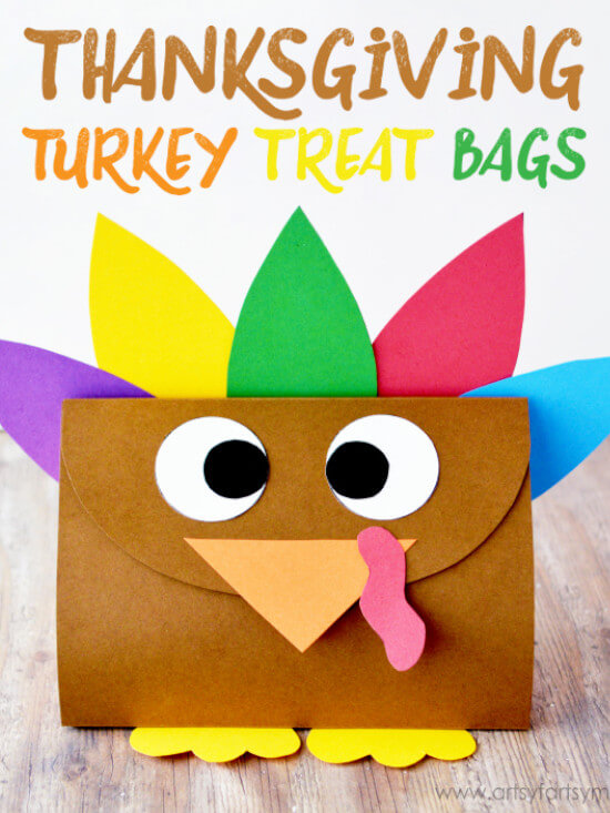 Thanksgiving craft for kids featuring turkey treat bags