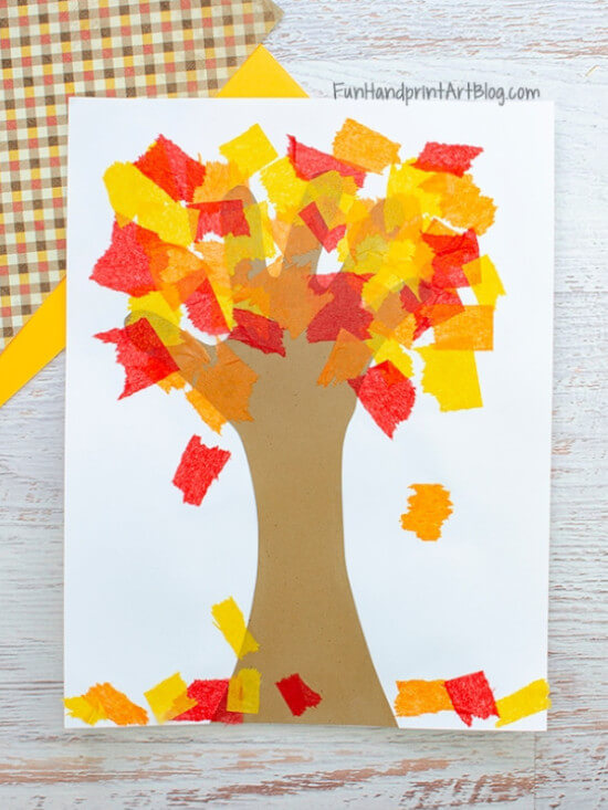 Fall craft made with tissue paper tree