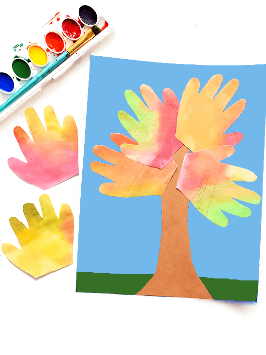 watercolor handprint fall tree craft for kids